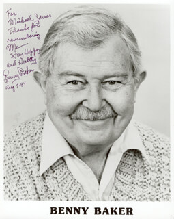 BENNY BAKER - AUTOGRAPHED INSCRIBED PHOTOGRAPH 08/07/1984