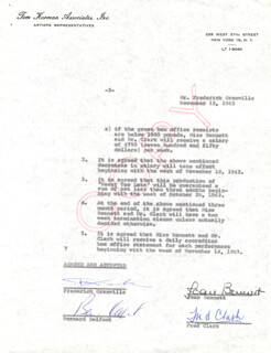 JOAN BENNETT - DOCUMENT SIGNED 11/15/1963 CO-SIGNED BY: FRED CLARK, BERNARD DELFONT, FREDERICK GRANVILLE