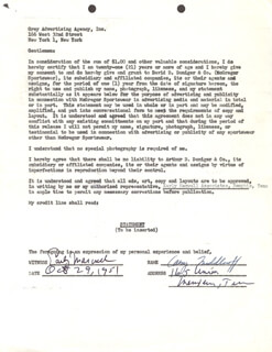 CARY MIDDLECOFF - DOCUMENT SIGNED 10/29/1951