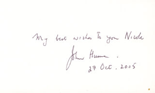 Autographs: JOHN HUME - INSCRIBED SIGNATURE 10/27/2005