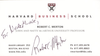 Autographs: ROBERT C. MERTON - INSCRIBED BUSINESS CARD SIGNED
