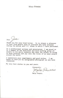 MALA POWERS - TYPED LETTER SIGNED