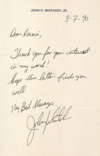JOHNNY WHITAKER - AUTOGRAPH LETTER SIGNED 03/07/1990