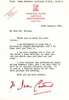 BARBARA H. CARTLAND - TYPED LETTER SIGNED 01/10/1994