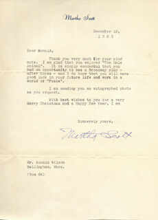 MARTHA SCOTT - TYPED LETTER SIGNED 12/18/1952