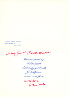 ESTHER MUIR - INSCRIBED CHRISTMAS / HOLIDAY CARD SIGNED CIRCA 1994