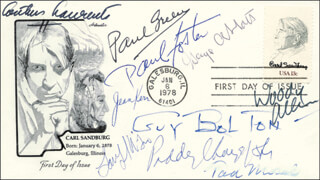 GEORGE F. ABBOTT - FIRST DAY COVER SIGNED CO-SIGNED BY: PAUL GREEN, ARTHUR LAURENTS, GUY R. BOLTON, WOODY ALLEN, PADDY CHAYEFSKY, TAD MOSEL, JEAN KERR, PAUL FOSTER, LANFORD WILSON