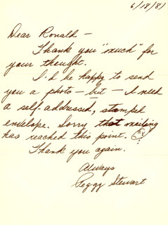 PEGGY STEWART - AUTOGRAPH LETTER SIGNED 06/18/1981