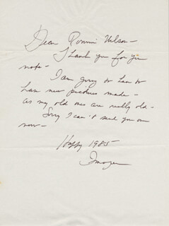 IMOGENE COCA - AUTOGRAPH LETTER SIGNED 1985