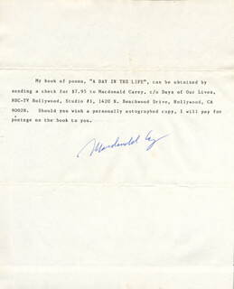 MACDONALD CAREY - TYPED NOTE SIGNED