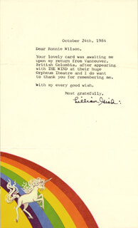 LILLIAN GISH - TYPED LETTER SIGNED 10/24/1984