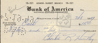 CHET HUNTLEY - AUTOGRAPHED SIGNED CHECK 07/18/1949