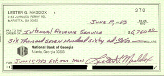 GOVERNOR LESTER G. MADDOX - AUTOGRAPHED SIGNED CHECK 06/10/1983