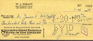 WILL DURANT - AUTOGRAPHED SIGNED CHECK 01/26/1948