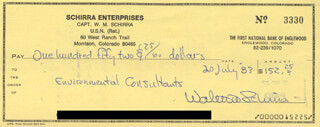 CAPTAIN WALLY M. SCHIRRA - AUTOGRAPHED SIGNED CHECK 07/20/1983