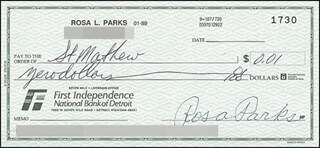 Autographs: ROSA PARKS - CHECK SIGNED