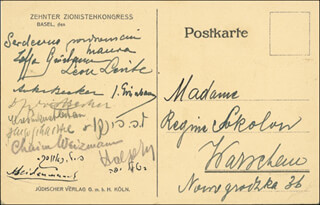 Autographs: PRESIDENT CHAIM WEIZMANN (ISRAEL) - PICTURE POST CARD SIGNED CO-SIGNED BY: LEON LEVITE