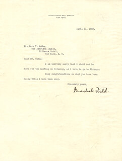MARSHALL FIELD III - TYPED LETTER SIGNED 04/11/1932