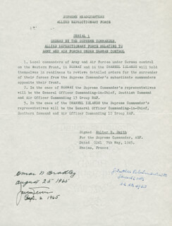 Autographs: GENERAL OMAR N. BRADLEY - TYPESCRIPT SIGNED 08/25/1965 CO-SIGNED BY: GENERAL JACOB L. DEVERS, GENERAL GUNTHER BLUMENTRITT