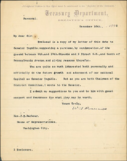 MAJOR GENERAL WILLIAM S. OLD ROSY ROSECRANS - TYPED LETTER SIGNED 12/16/1886