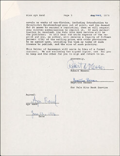 AYN RAND - DOCUMENT SIGNED 06/12/1976 CO-SIGNED BY: ROBERT HESSEN, BEATRICE HESSEN
