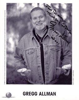 Autographs: THE ALLMAN BROTHERS (GREGG ALLMAN) - PHOTOGRAPH SIGNED 2001