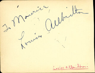 JAN STERLING - INSCRIBED SIGNATURE CO-SIGNED BY: LOUISE ALLBRITTON