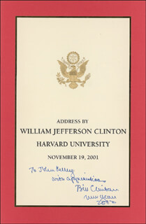 PRESIDENT WILLIAM J. BILL CLINTON - INSCRIBED PAMPHLET SIGNED 2002