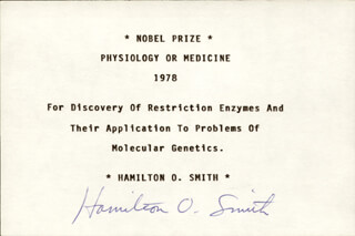 Autographs: HAMILTON O. SMITH - SIGNATURE(S)