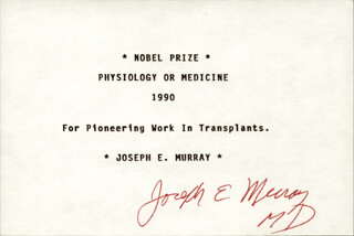 Autographs: JOSEPH E. MURRAY - PRINTED CARD SIGNED IN INK
