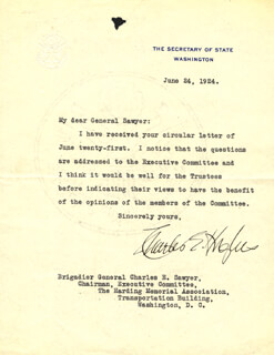 CHIEF JUSTICE CHARLES E HUGHES - TYPED LETTER SIGNED 06/24/1924