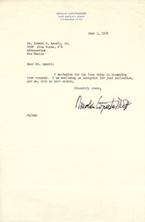 NIKOLAI LOPATNIKOFF - TYPED LETTER SIGNED 06/05/1958