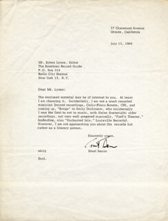 Autographs: ERNST BACON - TYPED LETTER SIGNED 07/15/1966