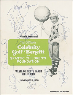 Autographs: WAYNE ROGERS - PROGRAM SIGNED CIRCA 1976 CO-SIGNED BY: TOMMY JOHN, FLIP WILSON, BURT HAPPY HOOTON, JACK LEMMON, DENNIS JAMES, HARVEY KORMAN, JACK ALBERTSON, DON KNOTTS, BOB NEWHART
