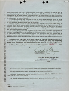 ADOLPHE MENJOU - CONTRACT SIGNED 05/18/1955