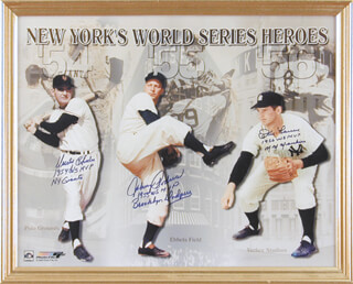 DUSTY (JAMES) RHODES - AUTOGRAPHED SIGNED PHOTOGRAPH CO-SIGNED BY: JOHNNY PODRES, DON LARSEN