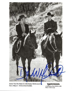 TEXAS RANGERS MOVIE CAST - AUTOGRAPHED SIGNED PHOTOGRAPH CO-SIGNED BY: DYLAN MCDERMOTT, JAMES VAN DER BEEK