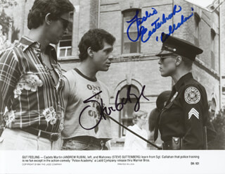 POLICE ACADEMY MOVIE CAST - AUTOGRAPHED SIGNED PHOTOGRAPH CO-SIGNED BY: STEVE GUTTENBERG, LESLIE EASTERBROOK
