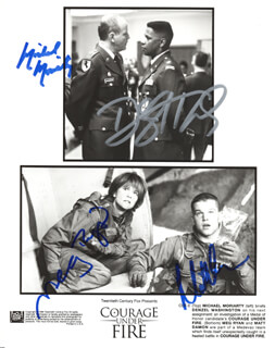 COURAGE UNDER FIRE MOVIE CAST - AUTOGRAPHED SIGNED PHOTOGRAPH CO-SIGNED BY: DENZEL WASHINGTON, MICHAEL MORIARTY, MATT DAMON, MEG RYAN