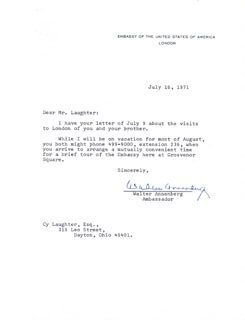Autographs: WALTER H. ANNENBERG - TYPED LETTER SIGNED 07/16/1971