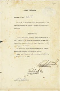 PRESIDENT FIDEL CASTRO (CUBA) - DOCUMENT SIGNED 01/22/1960 CO-SIGNED BY: PRESIDENT OSVALDO DORTICOS (CUBA)