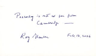 Autographs: ROY J. GLAUBER - AUTOGRAPH QUOTATION SIGNED 02/16/2006