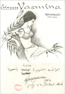 Autographs: PRINCESS YASMIN AGA KHAN (SWITZERLAND) - ORIGINAL ART SIGNED 07/14/1962