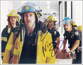 WORLD TRADE CENTER MOVIE CAST - AUTOGRAPHED SIGNED PHOTOGRAPH CO-SIGNED BY: OLIVER STONE, NICOLAS CAGE