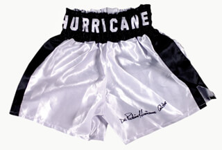 RUBIN HURRICANE CARTER - BOXING TRUNKS SIGNED