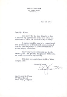 THOMAS J. WATSON SR. - TYPED LETTER SIGNED 06/14/1954