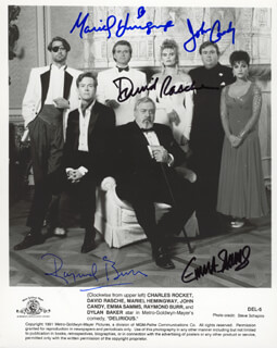 DELIRIOUS MOVIE CAST - AUTOGRAPHED SIGNED PHOTOGRAPH CO-SIGNED BY: JOHN CANDY, RAYMOND BURR, MARIEL HEMINGWAY, EMMA SAMMS, DAVID RASCHE
