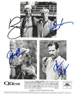 THE QUEST MOVIE CAST - AUTOGRAPHED SIGNED PHOTOGRAPH CO-SIGNED BY: ROGER MOORE, JEAN CLAUDE VAN DAMME, JANET GUNN, JAMES REMAR