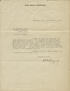 Autographs: REAR ADMIRAL RICHARD E. BYRD - TYPED LETTER SIGNED 09/02/1927