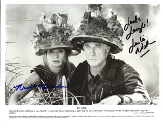 SPY HARD MOVIE CAST - AUTOGRAPHED SIGNED PHOTOGRAPH CO-SIGNED BY: LESLIE NIELSEN, NICOLETTE SHERIDAN